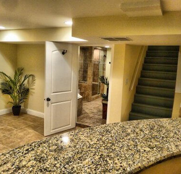 ceramic tiles and bar installed by basement finishing remodeling contractor