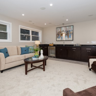family room by basement finishing remodeling contractor