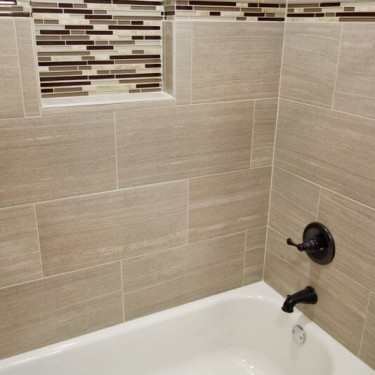 shampoo and soap inlay installed by bathroom remodeling contractor