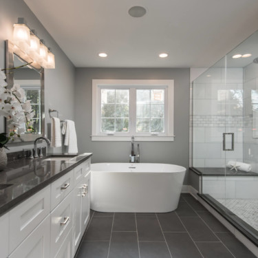 Chicago New Home Builder shows new master bath