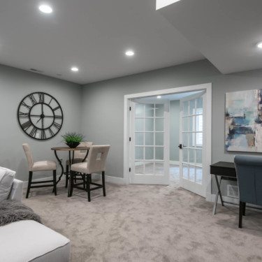 Basement Finishing Remodeling Contractor shows finished basement