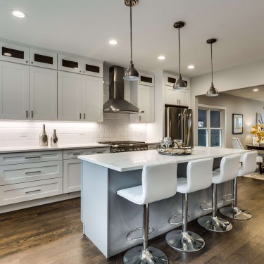 white and gray shaker cabinets by kitchen remodeling contractor