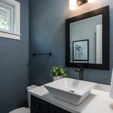 Powder room in a custom home build in Wheaton IL