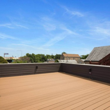 Rooftop deck built by custom home builder on new construction project