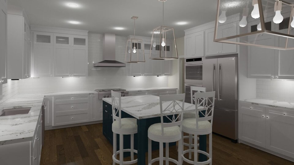 Kitchen 3D Rendering by design and build firm kitchen remodeling contractor