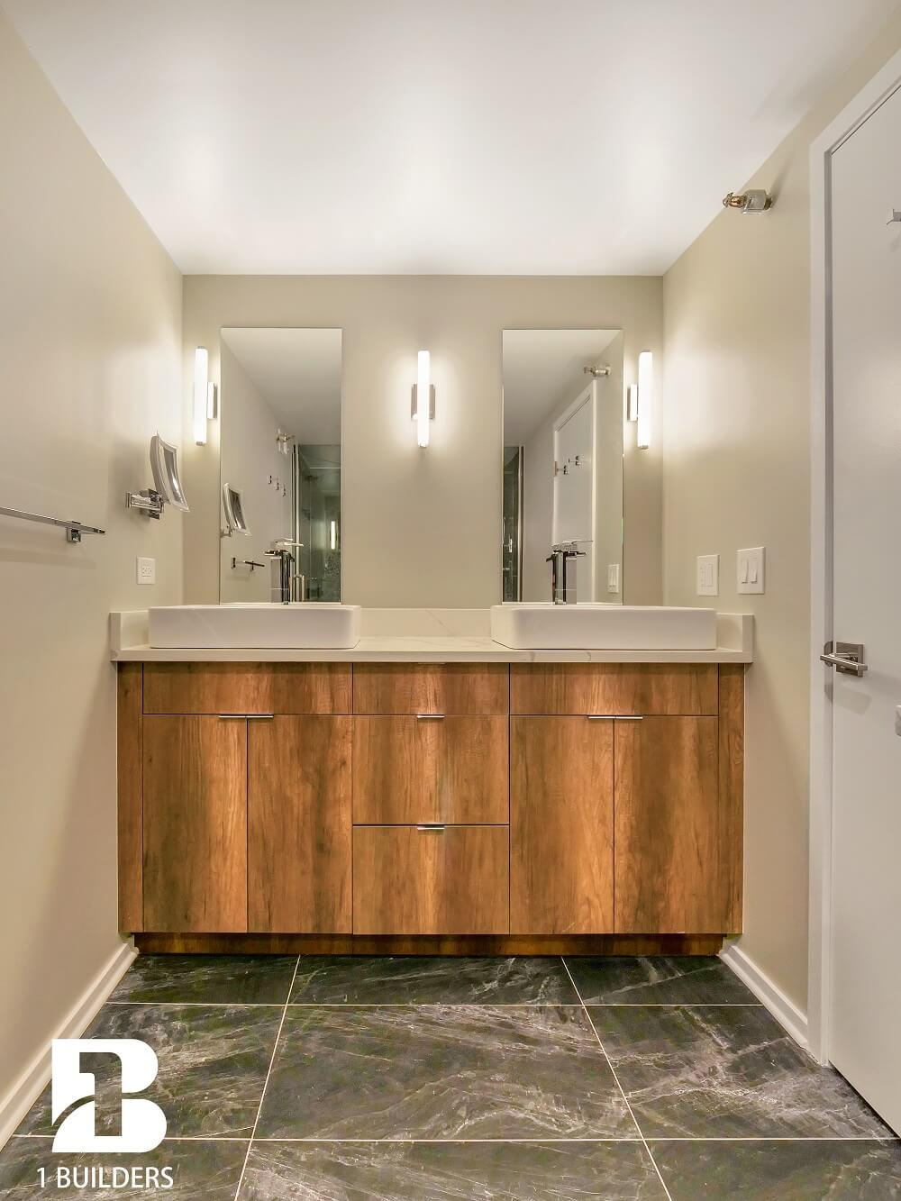 bathroom remodeling contractors installs double sink